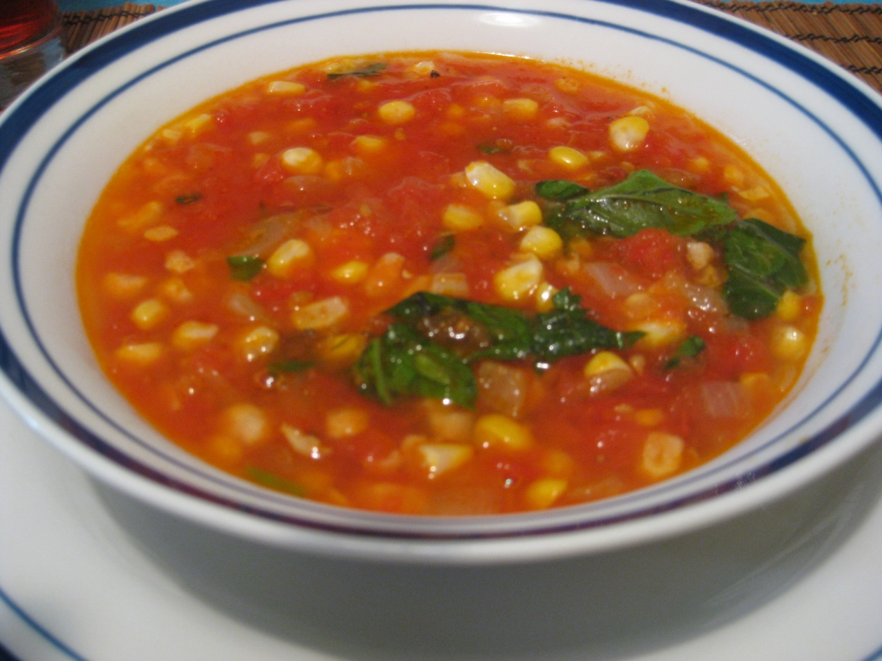 Tomato, Corn, & Basil Soup | Hard Head Vegan