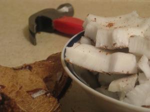 Fresh coconut: a hard-earned treat.