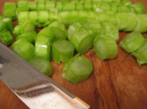 Tasty pac choy stems waiting to be stir-fried.
