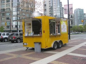 The Loving Hut Express, at Pacific & Davie, right by the Roundhouse Community Centre.