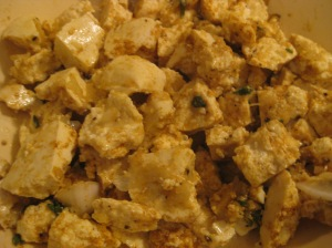 Curried tofu bites are on their way.  All seasoned up and ready to be tossed in a bit of flour, then pan-fried.