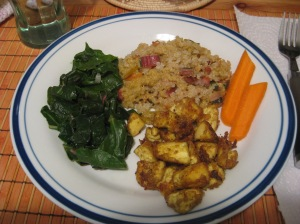 Served up with sauteed greens, brown rice, and carrot sticks.