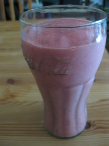 Presenting the strawberry banana smoothie.