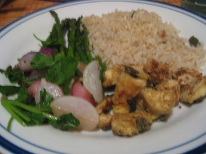 Stir-fried radishes, asparagus with garlic scapes and dill, purple sage-herbed tofu, and brown rice.