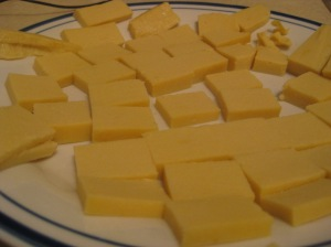 Chunks of chickpea and fava tofu.  Sure, it looks dull here, but what do you expect?  It's still naked!