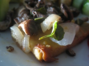 Sauteed and smothered in onions and mushrooms, with garden sage and thyme.